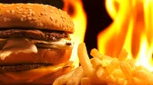 wood grill : Delicious Meat Hamburger On Fire