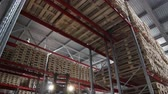 espaçoso : red cargo machine moves between high loaded rows in large spacious capacious roomy warehouse Vídeos