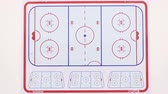 diagrama : KAZAN, TATARSTAN  RUSSIA - SEPTEMBER 12 2016: Closeup red and blue schema shows arena boundaries and hockey team event during the competition on September 12 in Kazan Stock Footage