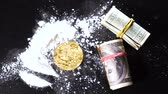 çekmek : slow motion coin created as cryptocurrency attracting whole world like drug falls on cocaine heap against dollars rolls