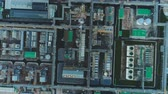 petrochemical : flycam view huge oil company with smoking towers and powerful refinery workshops