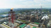 petrochemical : flycam moves past high chimneys