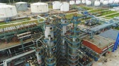 petrochemical plant : flycam view high construction among processing workshops