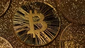 marvelous : macro shadow hides past famous marvelous golden bitcoin real model laying among sparkles