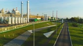 нефтехимический : KAZAN, TATARSTAN  RUSSIA - AUGUST 22 2017: Drone view high towers metal tanks with petroleum and production workshops on plant territory on August 22 in Kazan