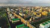 нефтехимический : panoramic view vast oil plant with green buildings fuel reservoirs and high towers