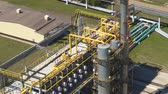 oil factory : drone view powerful large structure with pipes located on gas production company territory
