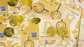 litecoin : macro upper view first decentralized financial system symbols bitcoins and litecoins on paper banknotes Stock Footage