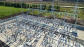 high power : high voltage substation consists of auto transformers in summer