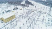 conversion : supporting tower sets electrical equipment in cold weather Stock Footage