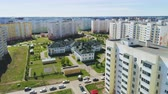 детский сад : park and kindergarten among dwelling buildings Стоковые видеозаписи