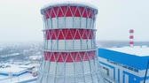 cooling towers : motion up along finished cooling tower on frosty day