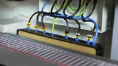 distribution : wires connected to electrical equipment in switchboard Stock Footage