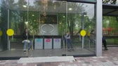 closed : people wait for transport on comfortable high-tech bus stop