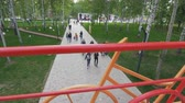 způsob dopravy : view from bridge with bicycle handrails on people in park