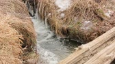 frozen waterfalls : The Ice Winter Water Stream Stock Footage