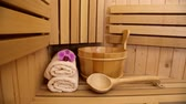 spa accessories in sauna Stock Footage