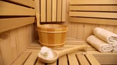 wellness and spa accessories in wooden sauna Stock Footage