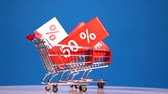 sale concept with moving shoping carts Stock Footage