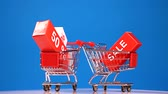 discounts and sales, moving shopping carts on blue background