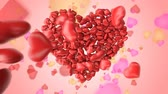 Beautiful 3d animation of a greeting card with big heart made of little hearts with congratulation for Saint Valentines Day and sweet background with colorful hearts on it. Dostupné videozáznamy