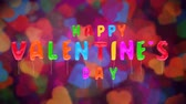 3d greeting card with wishes for valentines day from multicolored balloons on colorful background. Inflatable letters soar in air. This animation can be used like intro for your video, seamless loop.