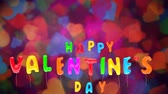 3d greeting card with wishes for valentines day from multicolored balloons fly up on colorful background. Inflatable vivid letters. Animation can be used like intro for your video, seamless loop.