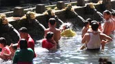 indonesia : BALI INDONESIA MARCH 29 2015: Unidentified Balinese families come to the sacred springs water temple of Tirta Empul in Bali Indonesia to pray and cleanse their soul Stock Footage