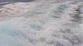 lancha : Blue ocean sea water with fast yacht boat wake foam of prop wash
