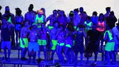 manmetro : KOH PHANGAN, THAILAND - MAY 3, 2015: Unidentified people participate in the Full Moon party on island Koh Phangan. The event now attracts anywhere from 40,000 party-goers on a normal month Stock Footage