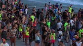 ada : KOH PHANGAN, THAILAND - DECEMBER 26, 2015: Unidentified people participate in the Full Moon party on island Koh Phangan. The event now attracts anywhere from 40,000 party-goers on a normal month