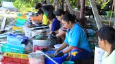 calamary : KOH PHANGAN, THAILAND - NOVEMBER 16, 2015: Unknown woman cleaned squid drying in the fishing village. Fishing is main occupation and income source on the island Stock Footage