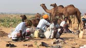 soupon : PUSHKAR, INDIA - OCTOBER 28 2014: Unidentified Indian men prepare a meal on a campfire during Pushkar Camel Mela. This fair is the largest camel trading fair in the world.