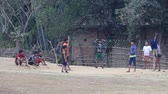 ротанг : MRAUK-U, MYANMAR - JANUARY 28, 2016: Unidentified young guys playing in game Sepak Takraw. Sepak Takraw very popular sports game in the countries of Southeast Asia.