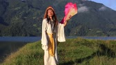 shemale : Shemale Sirena Sabiha dancing with a fan at sunrise in Pokhara, Nepal. Sirena was born in the Philippines. Close up