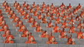 design : BANGKOK, THAILAND - FEBRUARY 22, 2016: Unidentified Thai monks during Buddhist ceremony Magha Puja Day in Wat Phra Dhammakaya Stock Footage