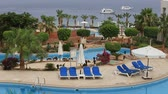 pool deck : SHARM EL-SHEIKH, EGYPT-MAY 25, 2018: Empty swimming pool in Sharm El Sheikh, South Sinai, Egypt