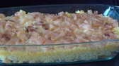 casserole : Rice with milk in the oven. Healthy food, vegetarian concept, close up Stock Footage