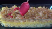 baking dishes : Rice with milk in the oven. Healthy food, vegetarian concept, close up Stock Footage