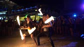 KOH PHANGAN, THAILAND - DECEMBER 22, 2018: fire show, slow motion