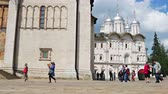 car : Moscow, Russia-may 23, 2018: Uspensky Cathedral on Cathedral square in the Moscow Kremlin. Walking tourists in the Kremlin. Camera movement