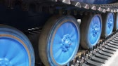 heavy metals : tracks on the tractor. details of construction equipment and transport. Stock Footage