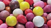 sabor : chewing gum of different colors. background of chewing gum. VIDEO rotation Stock Footage