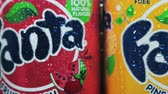 sabor : Moscow, Russia-September 6, 2018: cans of Fanta drink of different flavors in stock.Fanta non-alcoholic strongly carbonated soft drink; trademark owned by the Coca-Cola Company