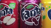 carbonated : Moscow, Russia-September 6, 2018: cans of Fanta drink of different flavors in stock.Fanta non-alcoholic strongly carbonated soft drink; trademark owned by the Coca-Cola Company