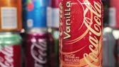 cseresznye : Moscow, Russia-September 6, 2018: can Coca-Cola drink with vanilla flavor.. Coca-Cola is a non-alcoholic carbonated drink produced by the Coca-Cola Company.