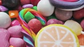 marmelada : variety of sweets, lollipops, candy, marshmallows, etc. Rotation video Stock Footage