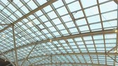 strop : glass roof of a modern building. Overlapping roof of the building