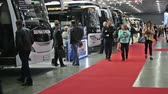 ülések : Moscow, Russia-October 23, 2018: modern and comfortable city electric bus at the exhibition Busworld Russia 2018.