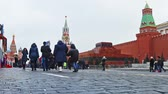 ussr : MOSCOW, RUSSIA - January 13, 2018: townspeople and tourists on red square Christmas and new year holidays in Moscow. Time lapse